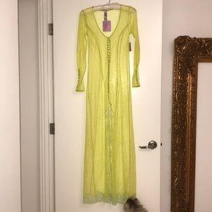 savage x fenty neon yellow lace dress